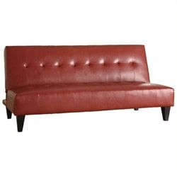 Bowery Hill Faux Leather Convertible Sofa in Red