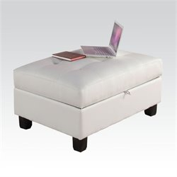 Bowery Hill White Bonded Leather Ottoman with Storage