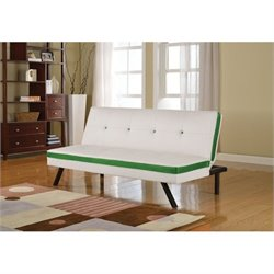 Bowery Hill Faux Leather Convertible Sofa in White and Green