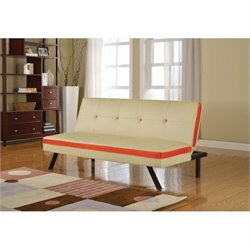 Bowery Hill Faux Leather Convertible Sofa in Cream and Red