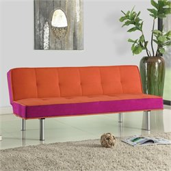 Bowery Hill Fabric Convertible Sofa in Orange and Purple