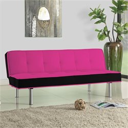 Bowery Hill Fabric Convertible Sofa in Pink and Black