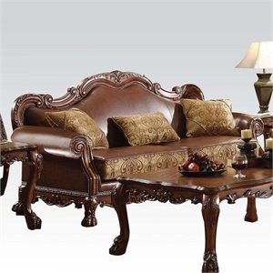 Bowery Hill Faux Leather Sofa in Brown