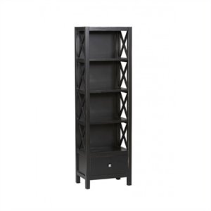 Bowery Hill Tall Narrow 4 Shelf Bookcase in Antique Black