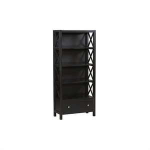 Bowery Hill 4 Shelf Bookcase in Antique Black