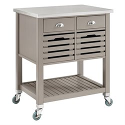 Bowery Hill Wood Kitchen Cart in Gray