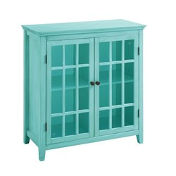 Bowery Hill Antique Double Door Curio Cabinet in Turquoise