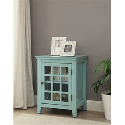 Bowery Hill Antique Single Door Curio Cabinet in Turquoise