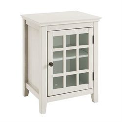 Bowery Hill Antique Single Door Curio Cabinet in White
