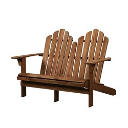 Bowery Hill Adirondack Loveseat in Teak
