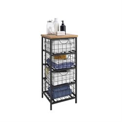 Bowery Hill 4 Basket Storage Rack in Black