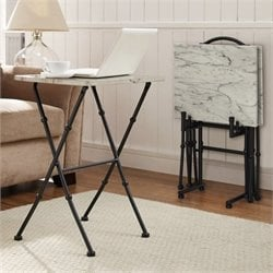 Bowery Hill 4 Piece Faux Marble Folding Tray Table Set