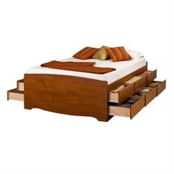 MER-1186 Bowery Hill Tall Platform Storage Bed in Cherry