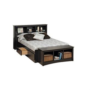 Bowery Hill Bookcase Platform Storage Bed with Headboard in Black-20161122