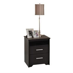 Bowery Hill Tall 2 Drawer Nightstand in Black