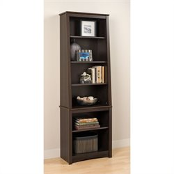 Bowery Hill 6 Shelf Slant-Back Bookcase in Espresso