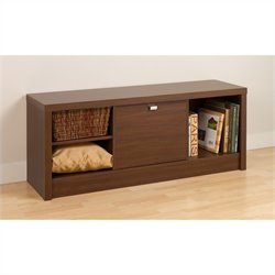 Bowery Hill Cubby Bedroom Bench in Medium Brown Walnut