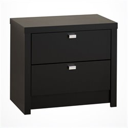 Bowery Hill 2 Drawer Nightstand in Black