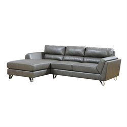 Bowery Hill Leather Left Facing Sectional in Charcoal Gray