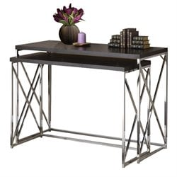 Bowery Hill 2 Piece Nesting Console Table Set in Rich Cappuccino