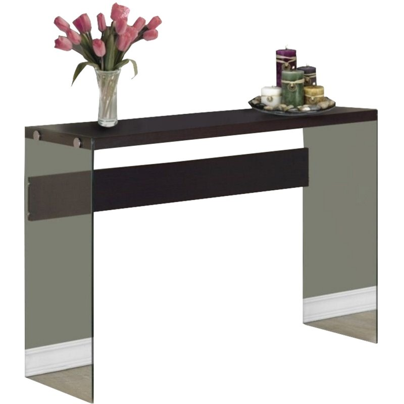 Bowery Hill Tempered Glass Console Table In Cappuccino Bh 499445
