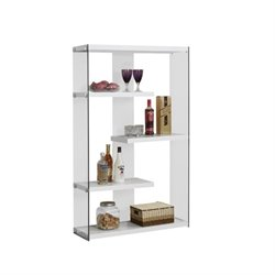 Bowery Hill 4 Floating Shelf Bookcase in Glossy White