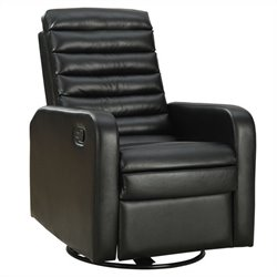 Bowery Hill Leather Swivel Glider Recliner in Black