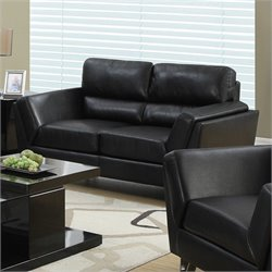 Bowery Hill Leather Loveseat in Black