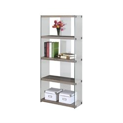 Bowery Hill 4 Shelf Tempered Glass Bookcase in Dark Taupe