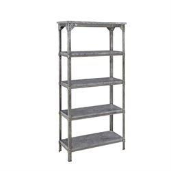 Bowery Hill 5 Shelf Bookcase in Aged Metal