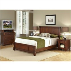Bowery Hill 3 Piece King Panel Bedroom Set in Rustic Cherry