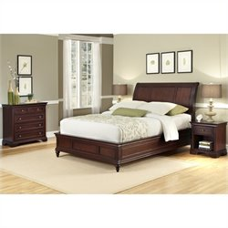 Bowery Hill 3 Piece King Sleigh Bed Set in Rich Cherry
