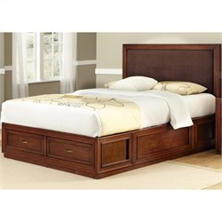 Bowery Hill King Platform Panel Bed with Brown Microfiber Inset