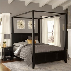 MER-1185 Bowery Hill Canopy Bed and Nightstand in Black
