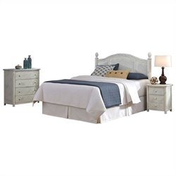 Bowery Hill King California King Headboard Bedroom Set in Rubbed White