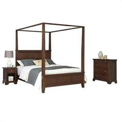Bowery Hill King Canopy Bed Nightstand and Chest