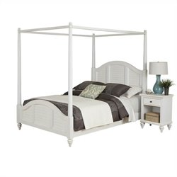 MER-1185 Bowery Hill Canopy Bed and Nightstand White