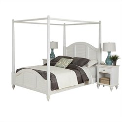 MER-1185 Bowery Hill Canopy Bed and Two Nightstands White