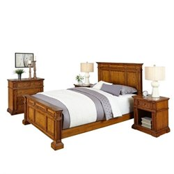 Bowery Hill 4 Piece Queen Bedroom Set in Oak
