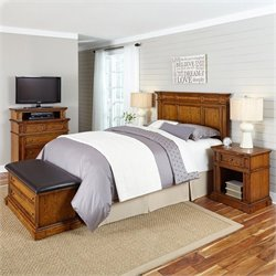 Bowery Hill 5 Piece King California King Headboard Bedroom Set in Oak