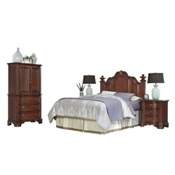 Bowery Hill 4 Piece Full Queen Headboard Bedroom Set in Cognac
