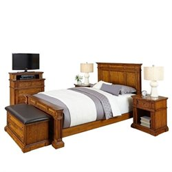Bowery Hill 5 Piece Queen Bedroom Set in Oak
