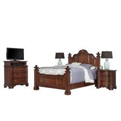 Bowery Hill 4 Piece Queen Bedroom Set in Cognac