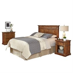 MER-1185 Home Styles Americana Headboard Bedroom Set in Natural Acacia 1