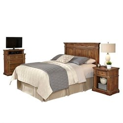 MER-1185 Home Styles Americana Headboard Bedroom Set in Natural Acacia 2