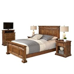Bowery Hill 4 Piece Queen Bedroom Set in Natural Acacia