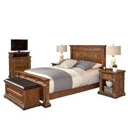 Bowery Hill 5 Piece Queen Bedroom Set in Natural Acacia