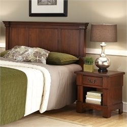 MER-1185 Bowery Hill Panel Headboard and Nightstand in Cherry