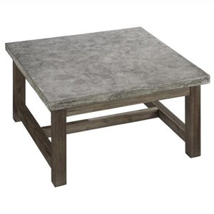 Bowery Hill Square Coffee Table in Brown and Gray