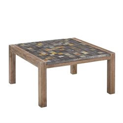 Bowery Hill Square Coffee Table in Wire Brushed with Slate Top